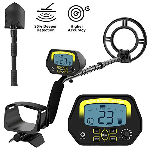 SAKOBS Metal Detector for Adults – High Accuracy Metal Detector with Discrimination Mode Distinctive Audio Prompt and LCD Display Waterproof Search Coil for Treasure Hunting Beginners Professionals