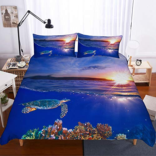 (PATATINO MIO Ocean Bedding Set Twin,3D Digital Printed Sea Turtle Swimming to The Surface Gold Glow of Sunset Blue Duvet Cover Set for Kids,Boys,Girls and Children,1 Duvet Cover 1 Pillow Sham)
