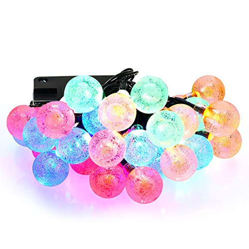 Crystal Ball Solar String Lights 20 Feet 30 LED Lights for Garden Fence Path Landscape Decoration