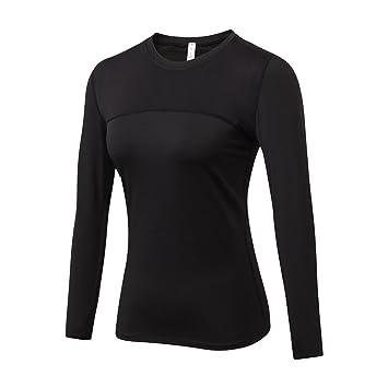 1c7cce7a85f Yuerlian Camiseta de compresión para mujer, cuello redondo, manga larga,  fresca, transpirable