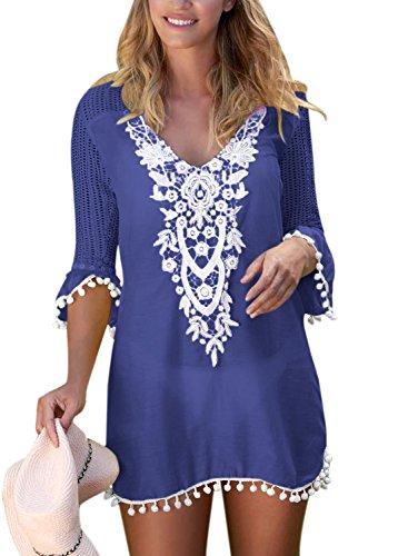 Itsmode Womens Crochet Pom Pom Trim Tassel Swimsuit Summer Chiffon Boho Tunic Beach Cover up Beachdress XL Blue Navy (Crochet Cover Trim)