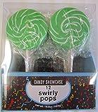 24 Large 3'' Swirl Lollipops Green (2 Packs of 12)