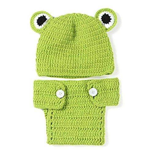 TOOGOO(R) Kids Handmade newborn Baby infant boy prince Girl Costume Animal Beanie photography Props Set Crochet Cloth knitted caps & hats-Frog ()