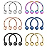 Ruifan 316L Surgical Steel CBR Horseshoe Circular Rings Nose Eyebrow Tragus Lip Ear Hoop Ring Piercing 20G 8MM 12PCS (Mix Color)