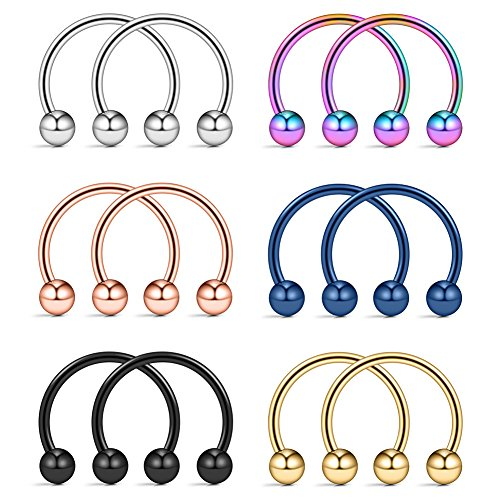 Ruifan 316L Surgical Steel CBR Horseshoe Circular Rings Nose Eyebrow Tragus Lip Ear Hoop Ring Piercing 20G 10MM 12PCS (Mix Color)