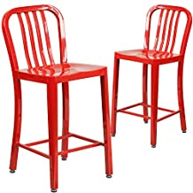"""Flash Furniture 2-CH-61200-24-RED-GG 24"""" High Red Metal Indoor/Outdoor Counter Height Stool with Vertical Slat Back (2 Pack)"""