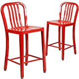Flash Furniture 2-CH-61200-24-RED-GG 24 High Red Metal Indoor/Outdoor Counter Height Stool with Vertical Slat Back (2 Pack)