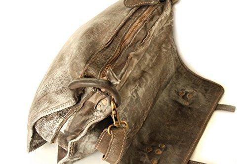 Cuoio di Messenger, borsa a tracolla (40 / 31 / 13 cm) in vera pelle, in look vintage, marrone-grigio, Italia