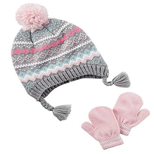 Isle Pom Pom Winter Hat and Mitten/Glove Set (Pink/Grey, 2T-4T) ()