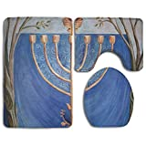 Hanukkah Candle Chanukah Accessories Bathroom Rugs Set Without Deformation Bath Rug Set Antibacterial Lid Toilet Cover And Bath Mat