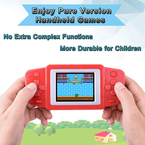 "Kids Handheld Game Portable Game Player Arcade Gaming System Birthday Gift for Children Travel Holiday Recreation 2.5"" Color LCD Screen 268 Classic Mini Games (Red)"