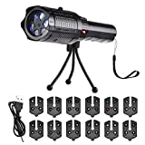 Owfeel LED Projector Flashlight Christmas Portable Flashlight with 12 Pattern Slides and Tripod USB Charging, Handheld Projector for Halloween Christmas Easter Birthday Party Holiday Decoration