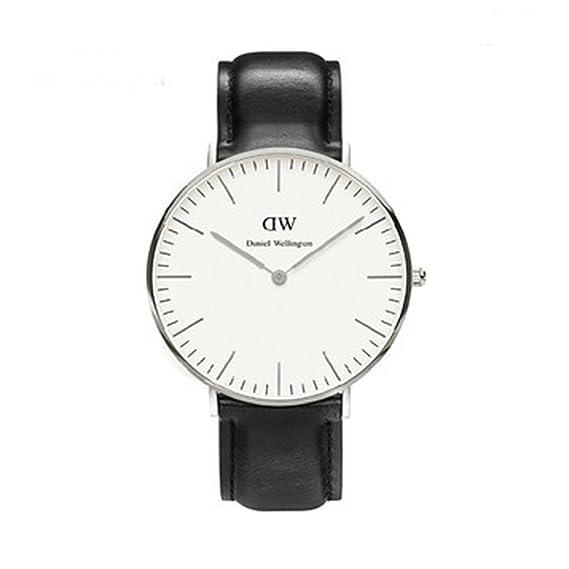 Cuero Marca barato Relojes Dw Slim Marrón + Oro Y Plata través Conchas Mm Bl