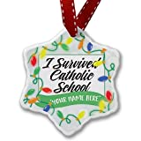 Personalized Name Christmas Ornament, Vintage Lettering I Survived Catholic School NEONBLOND
