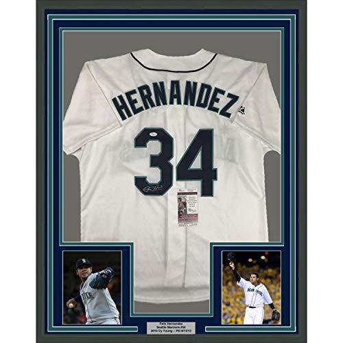 Hernandez Autographed Jersey - Framed Autographed/Signed Felix Hernandez 33x42 Seattle White Baseball Jersey JSA COA