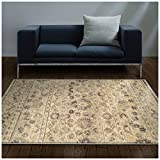 Cheap Superior Fawn Collection Area Rug, 8mm Pile Height with Jute Backing, Chic Distressed Floral Medallion Pattern, Fashionable and Affordable Woven Rugs – 8′ x 10′ Rug, Beige