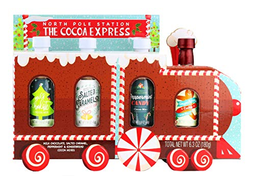 Thoughtfully Gifts, Cocoa Train, Hot Cocoa Gift Set, 1.6 Ounces Each, Includes 4 Delightful Flavors Like Gingerbread, Salted Caramel, and More, Set of 4 (Set Hot Cocoa)