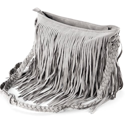a en Tressee Suede Hobo Fille Gris a Style Franges pr Anladia Bandouliere Femme Sac Epaule 0q5wIS1