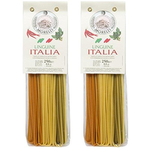 Pastificio Morelli Pasta Italia - Linguine Tri-color Pasta Imported from Italy (pack of 2) (Pasta Imported)