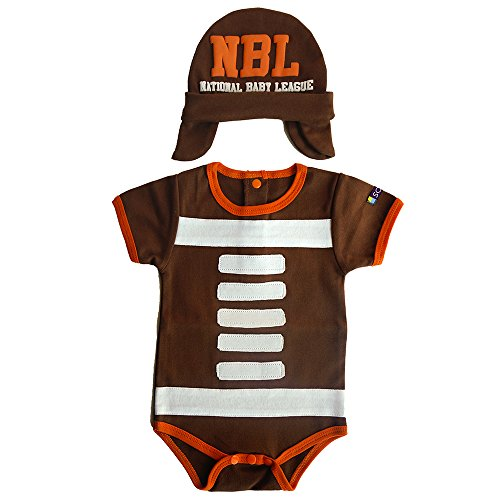 SOZO Baby Boys Bodysuit & Hat Set, Infant Football Onesie Costume, Brown/Orange/White, 6-12 (Football Costumes For Babies)