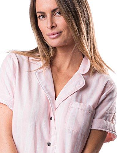 Naked Women's Double Gauze Cotton Pajama Set, Belair Blush Pin Stripe, Extra Small by Naked (Image #2)