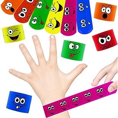 German Trendseller® - 24 x pulseras de palmada smiley┃sonriente brazalete ┃fiestas infantiles┃ idea de regalo┃piñata┃cumpleaños de niños┃bolsas ...