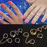 KeyZone Women Stylish Crystal Leaves V Shaped Above Knuckle Stacking Band Midi Rings (6pcs a set)