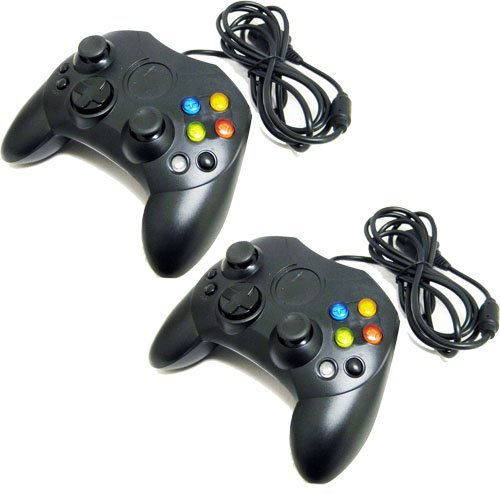 Two Black Xbox Controllers