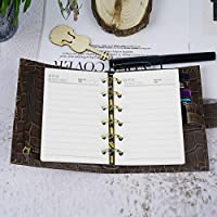 Moterm Genuine Leather Notebook Organiser - A7 Rings Binder Planner Cover Diary Journal Agenda (A7 Size, Coffee)