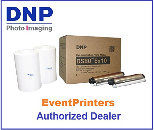 DNP DS80 8 x 10 inch Printer Media, paper and ribbon kit (total 260 prints). Comes with FREE SAMPLES of our best selling photo folders (Eventprinters brand). AUTHORIZED DEALER. by DNP and Eventprinters