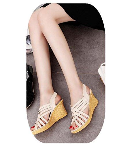 Vestir Punta Cuñas Multi Beige De Mujer Abierta correas Sandalias Culater Zapatos cwO6zpnWZ