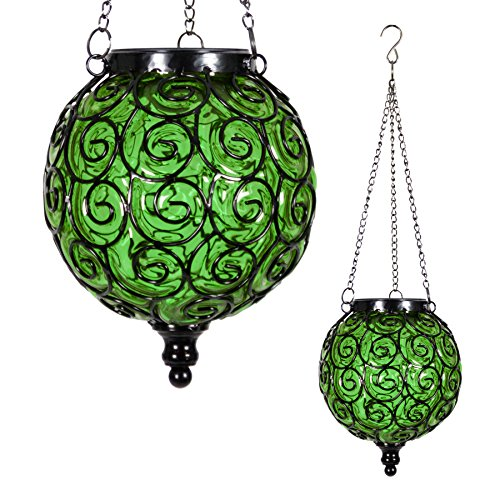 Exhart Solar Hanging Lantern, Handblown Green Glass - Round Hanging Lantern Light w/ 12 LED Firefly String Lights, Metal & Glass Lantern Decorative Orb for Outdoor Décor (7in l x 7in w x 20in h) (Green Lantern Glass)