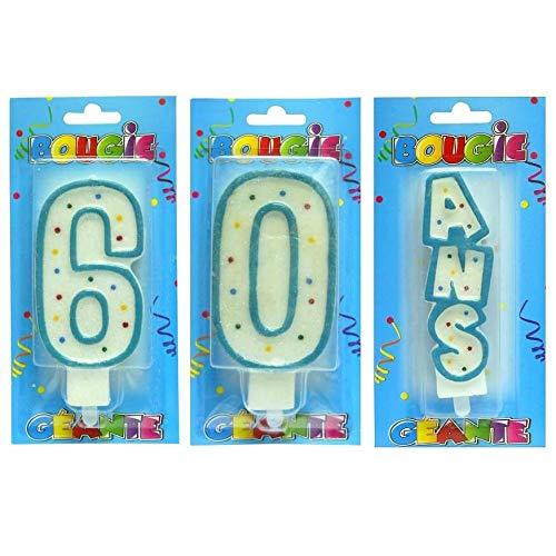 S 1 - Vela Gigante, Color Blanco y Azul para cumpleaños 60 ...