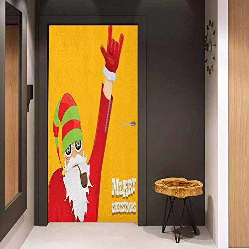 Onefzc Self-Adhesive Wall Murals Indie Biker Santa Claus Smoking Pipe with Hand Gesture Party Christmas Cartoon Sticker Removable Door Decal W17.1 x H78.7 Marigold Lime Green