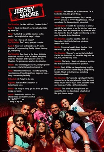 Jersey Shore Gym Quotes Reality TV Television Show Print (Unframed 24x36 - Jersey Shore Cast