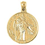 Yellow Gold-plated 925 Silver 34mm Saint Christopher Pendant Necklace