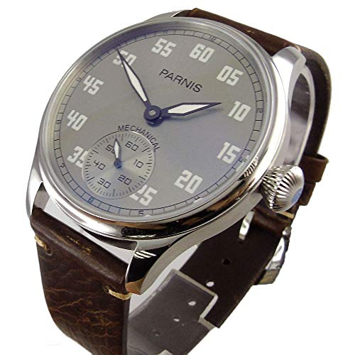 Parnis 44mm Grey Dial Luminous Marks Stainless Steel Case Mineral Glass 17 Jewels Seagull 6498 Hand Winding Movement Men's Mechanical Wrist Watch