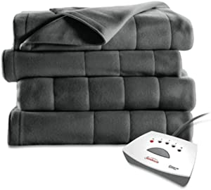 Sunbeam Heated Fleece Electric Blanket, Full Size, 10 Hour Shut Off, 5 Heat Setting