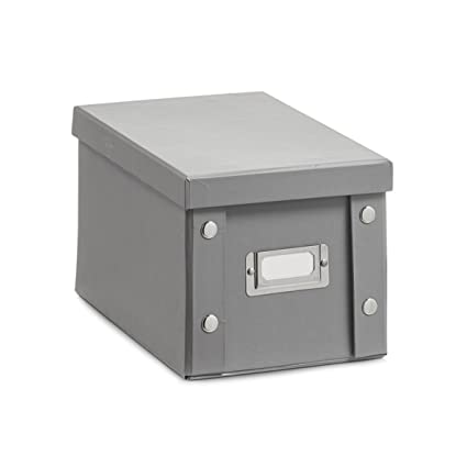 Zeller 17595 - Scatola porta CD, in cartone grigio, 16,5 x 28 x 15 ...