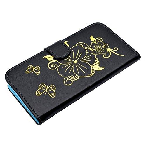 Mobile protection Para el iPhone 7 más patrón de mariposa de bronceado flip horizontal caja de cuero PU con titular y ranuras para tarjetas y cartera ( Color : Purple ) Black