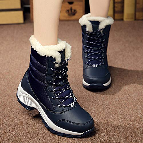 De Mujeres Tobillo Botas Antideslizante Piel Gruesa Platformsnow Botas Calzado ALIKEEY Botas Impermeable Azul x8OAC48Zqw