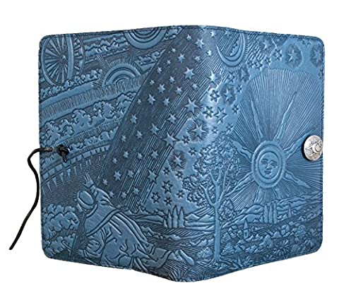 Genuine Leather Refillable Large Notebook Cover for 5.25 x 8.25 Inch Notebooks | Tooled Roof of Heaven, Sky Blue with Pewter Button | Made in the USA by Oberon - Oberon Journal