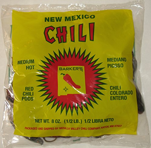 Barker's Medium Spicy Dried Red Chili Pods From Hatch, New Mexico (1 Lb.)