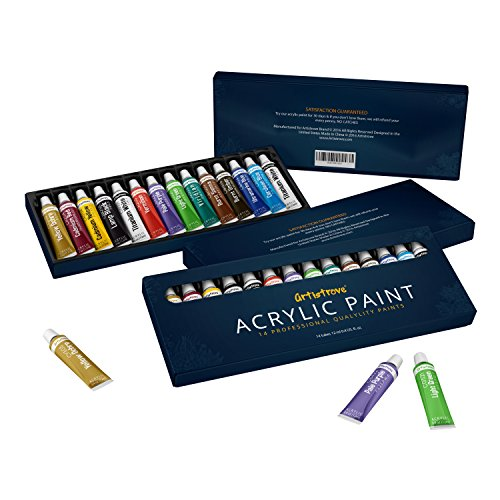 Acrylic Paint Set by Artistrove - Premium Pigments | 14 Tubes | Perfect For Painting Canvas, Ceramic, Clay, Nail Art, Wood, Airplane Kits & Models - Add To Your Collection Now!