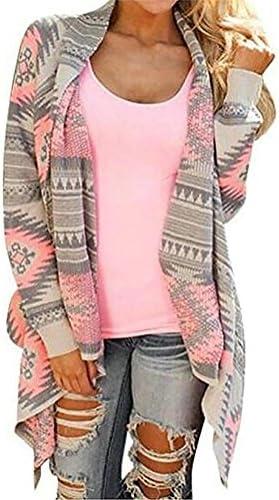 myobe Azteca De La Mujer Drape de impresión frente abierto Drape Boyfriend chaqueta de punto Sweaters