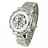 YouYouPifa Skeleton Dial Stainless Steel Strap Hand-Wind Mechanical Men's Watch (White)