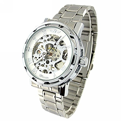YouYouPifa Skeleton Stainless Hand Wind Mechanical