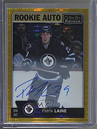 Patrik Laine #/25 (Hockey Card) 2016-17 O-Pee-Chee Platinum - Rookie Autographs - Seismic Gold #R-PL