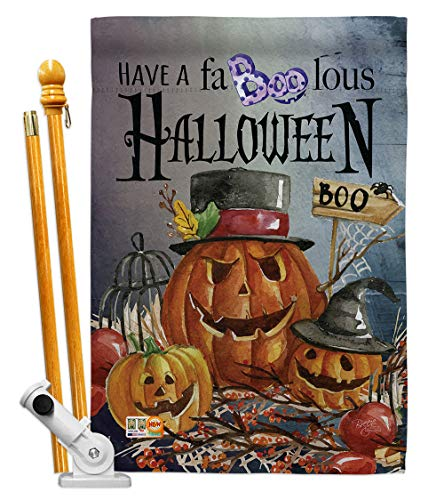 Breeze Decor HS112068-BO Faboolous Fall Halloween Decorative Vertical House Flag Set, 28