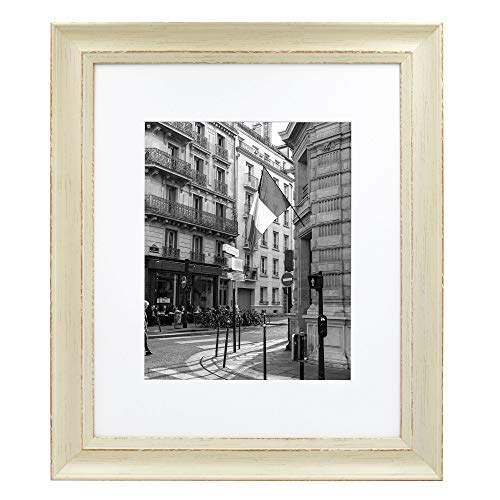 - Golden State Art, 16x20 Cream Color Photo Frame, Shabby Chic Pattern, with Ivory Mat for 11x14 Picture or Photo, and Real Glass